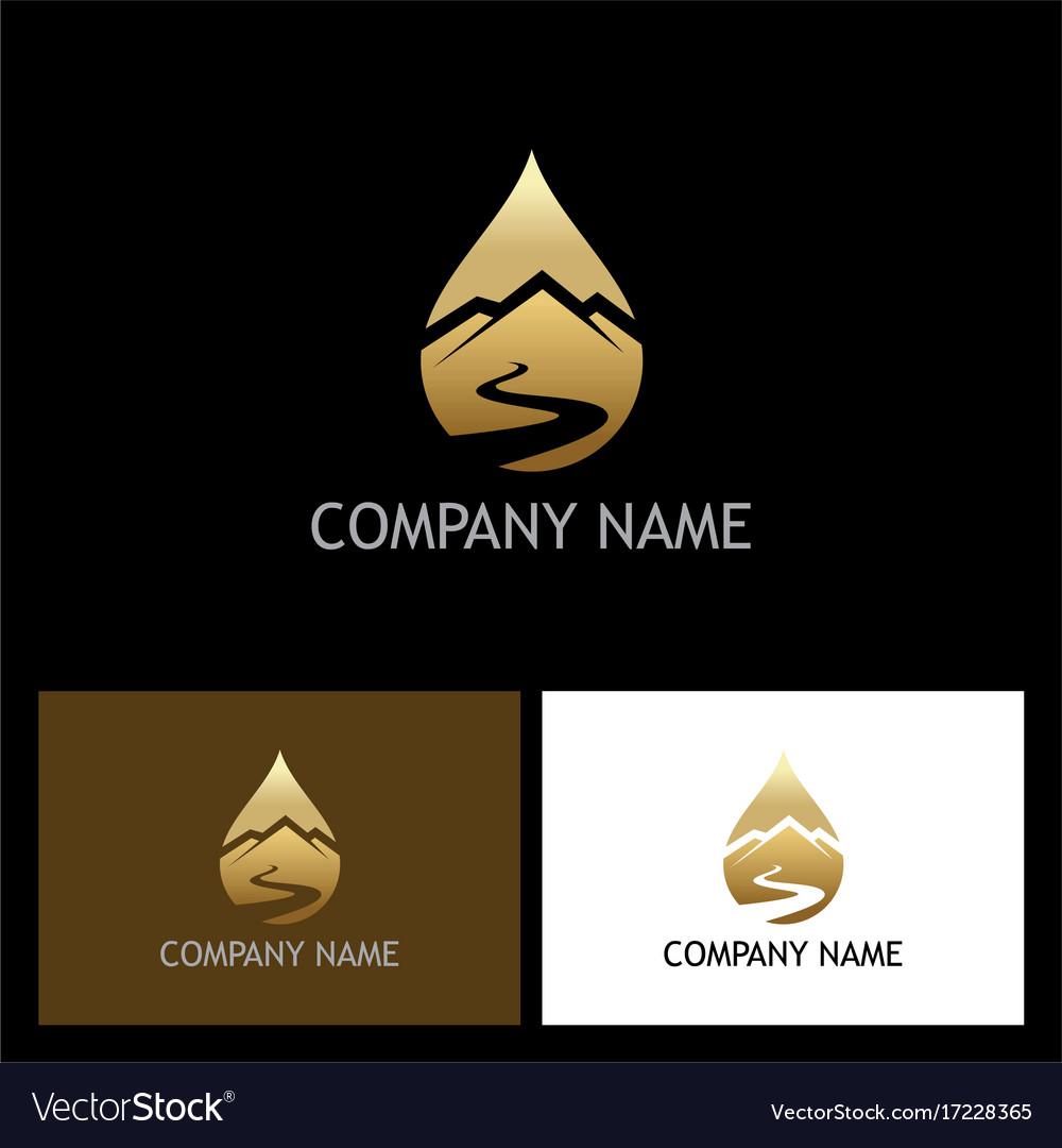 Gold water drop mountain logo