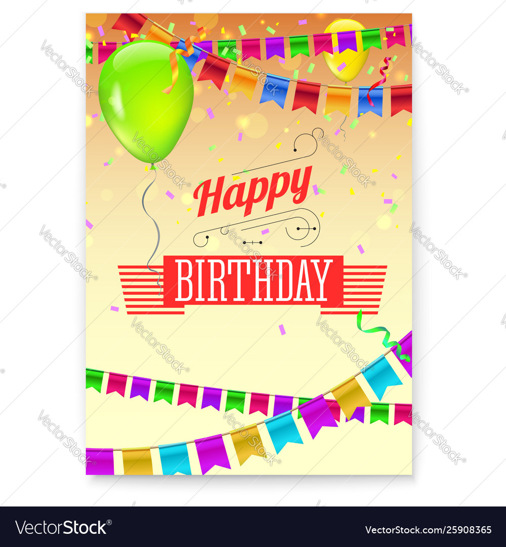 Happy birthday greeting poster festive background