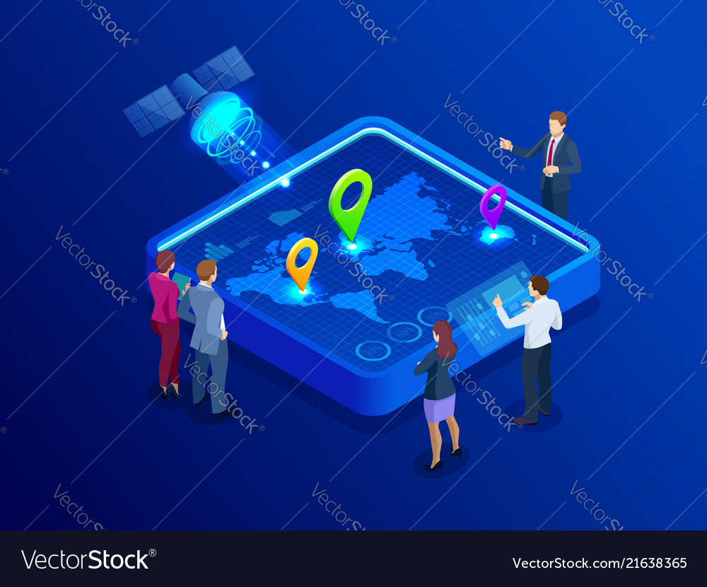 Isometric global network coverage world map map