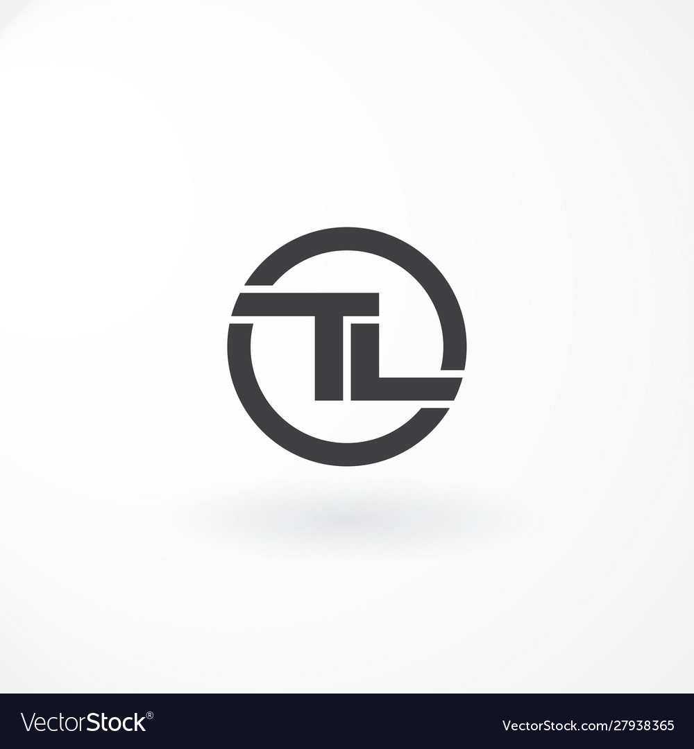 Logo design with combination letter t and l black