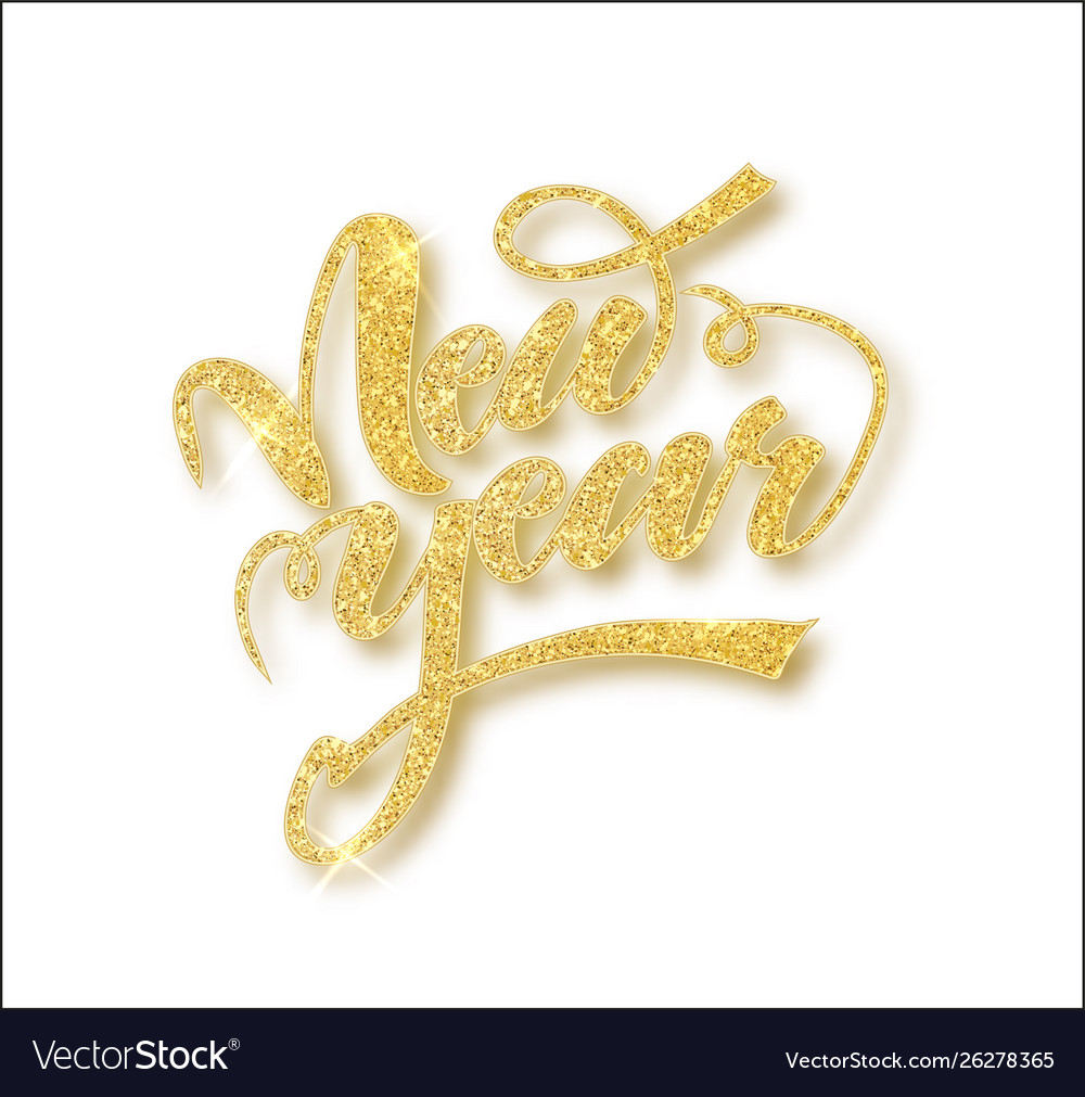New year card with golden glitter lettering