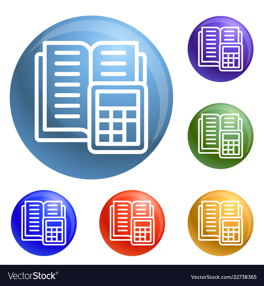 tax calculator icons set royalty free vector image