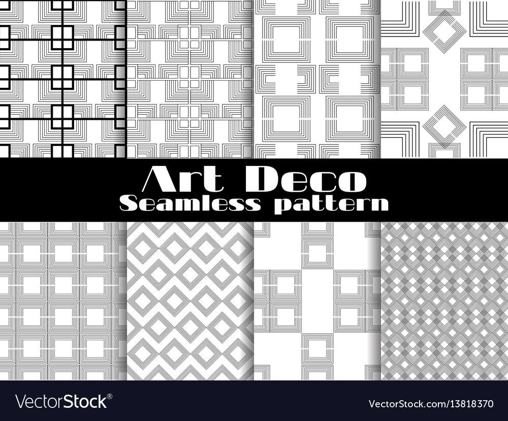 Art deco seamless patterns set retro backgrounds