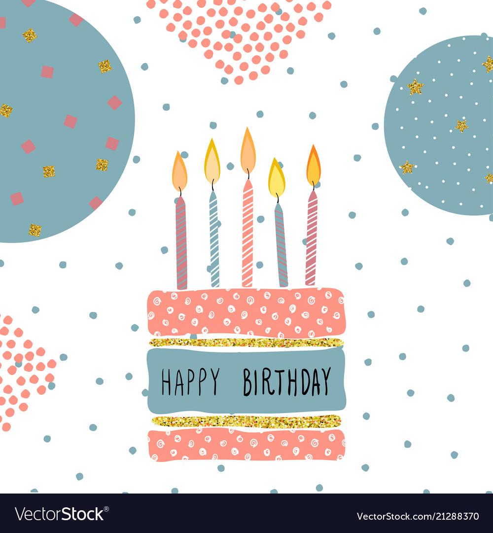 Cute birthday greeting card handdrawn background vector image m4hsunfo
