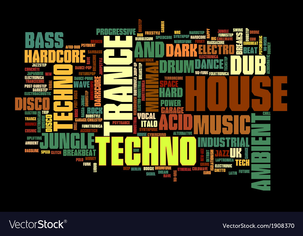 Electronic Techno Music Styles Word Cloud Bubble