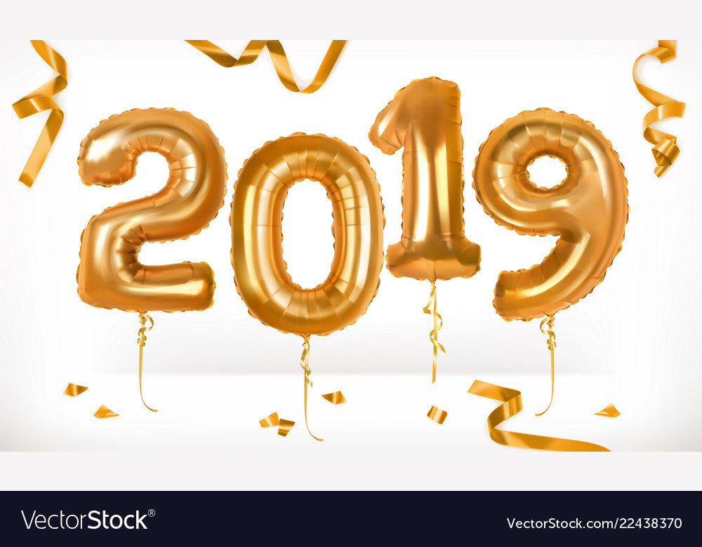 Golden toy balloons happy new year 2019 3d icon