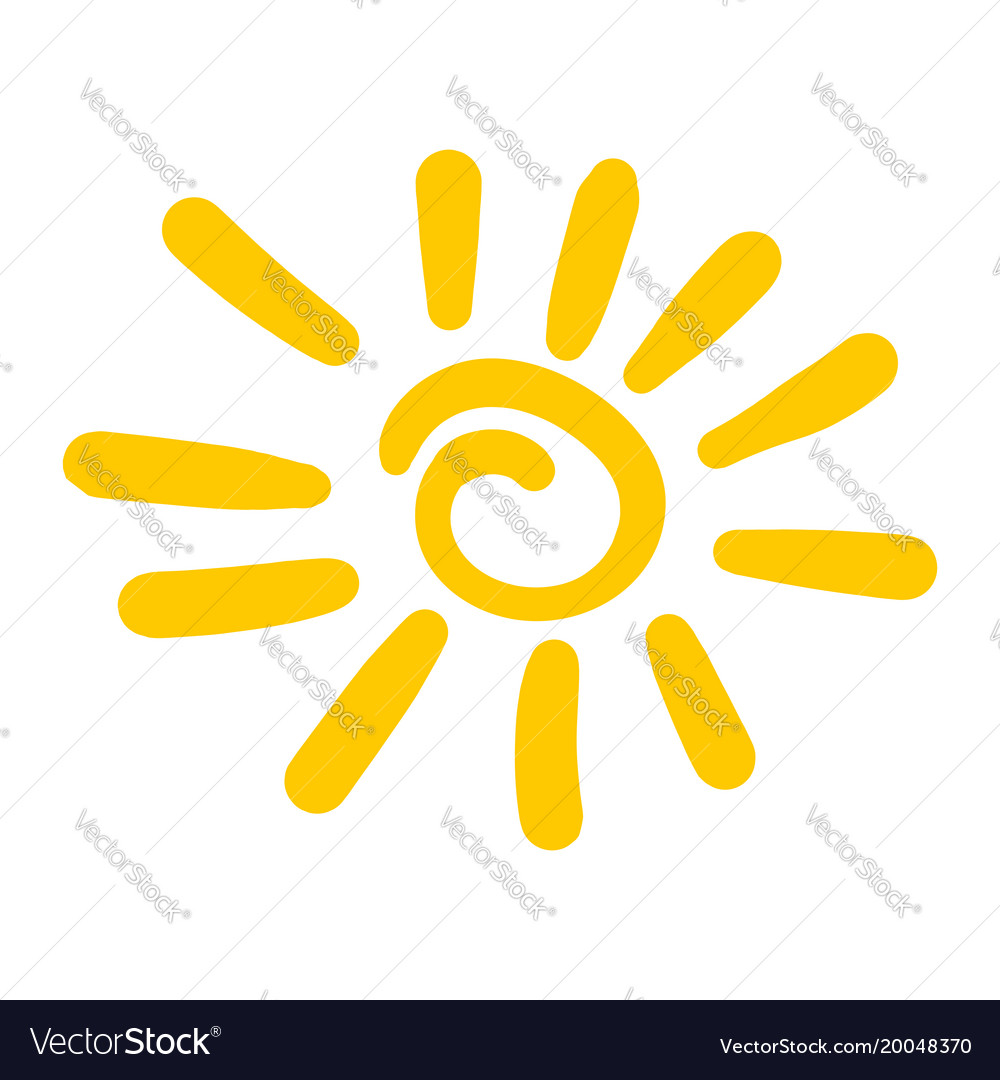 Hand drawn sun icon isolated on white background