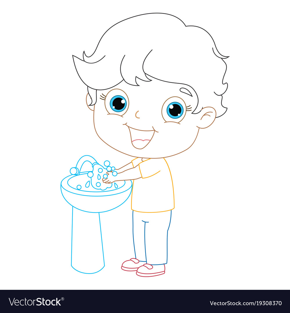 Kid washing hands coloring page Royalty Free Vector Image