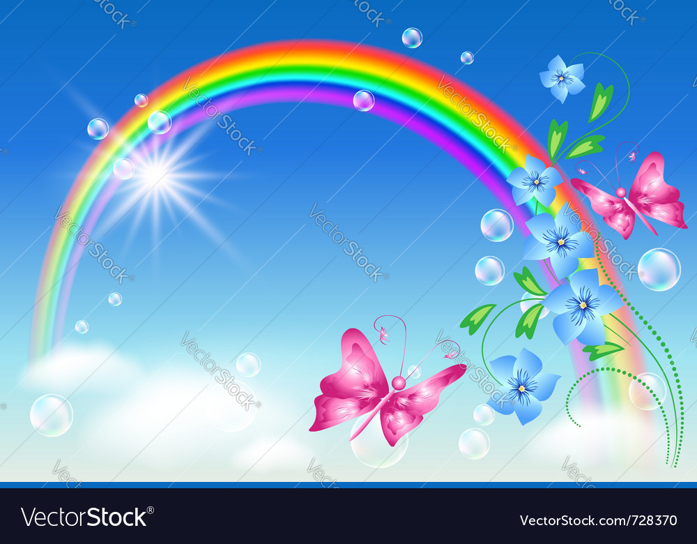 Rainbow and flowers vector image
