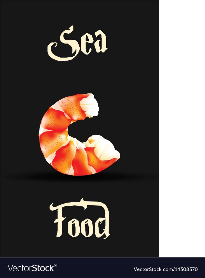 Shrimp seafood design template prawn vector image