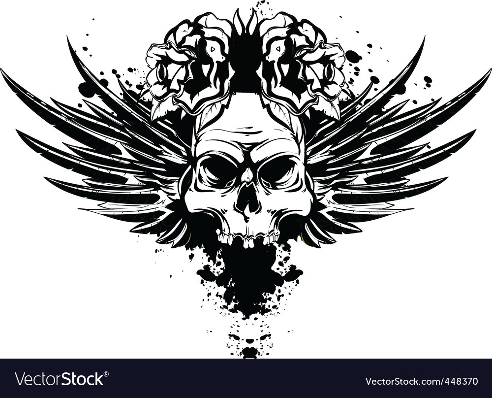 skull with wings and roses royalty free vector image