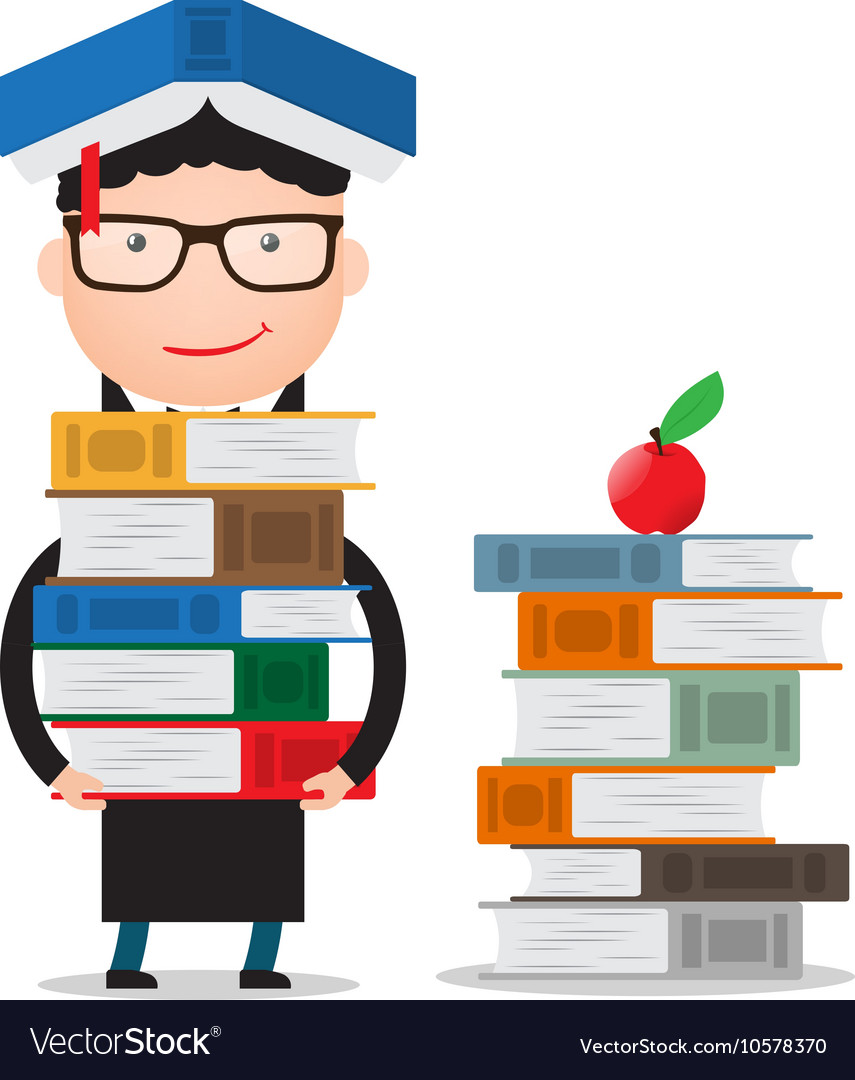 Student stands and holds a large bundle of books vector image