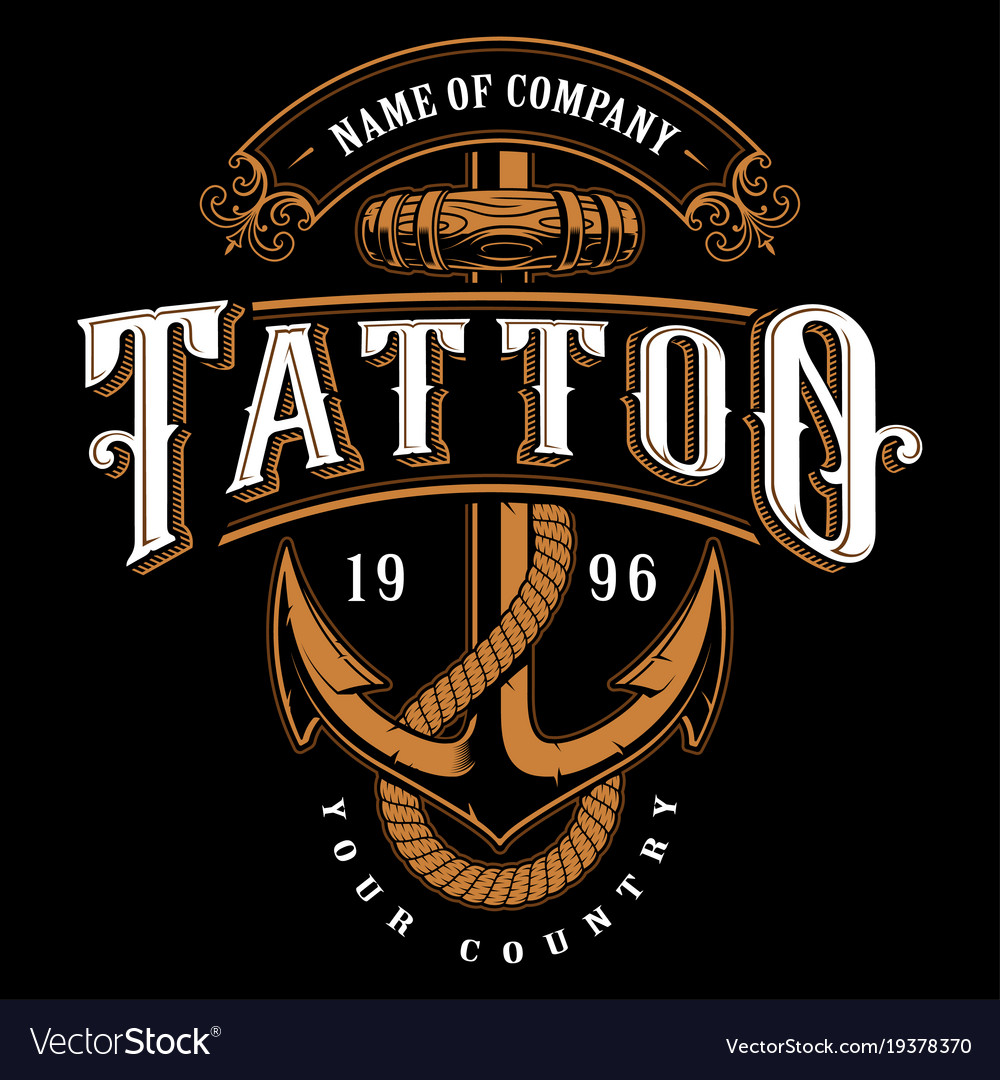 Tattoo lettering with anchor for dark background