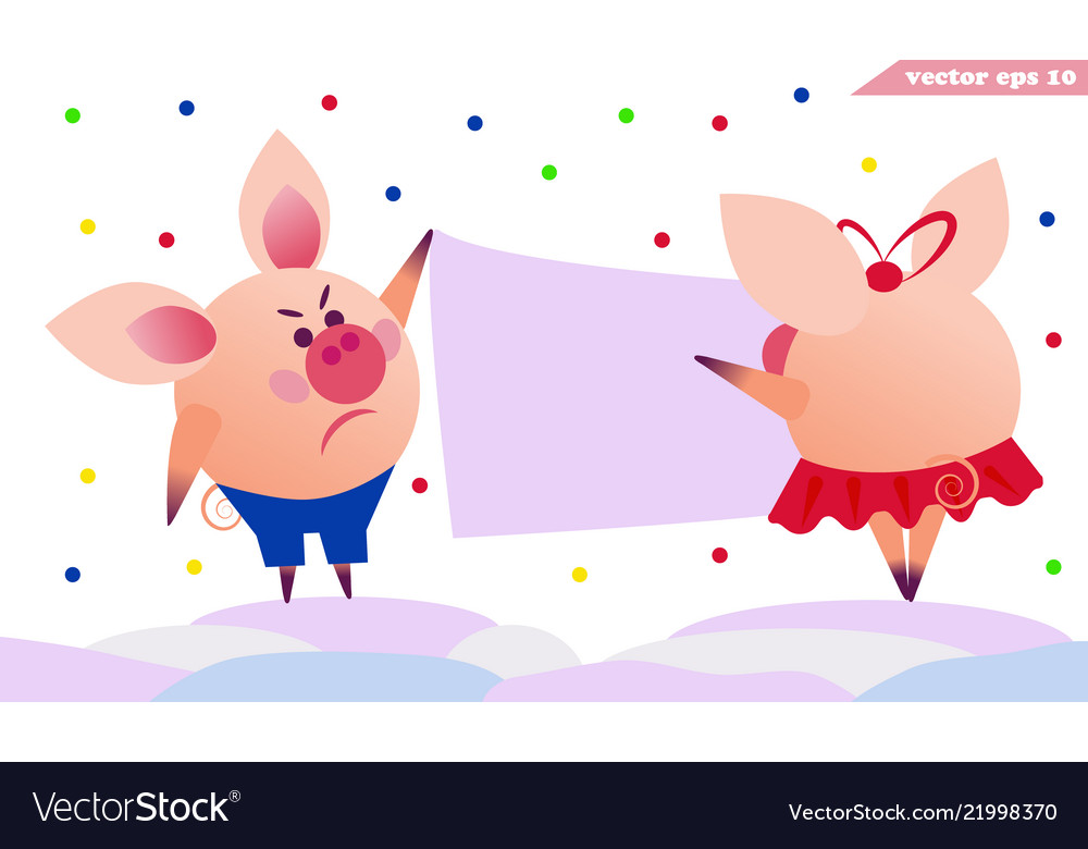 Two pigs hanging the banner