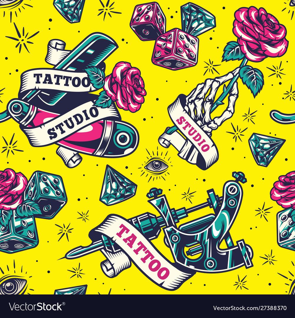 Vintage tattoo studio colorful seamless pattern