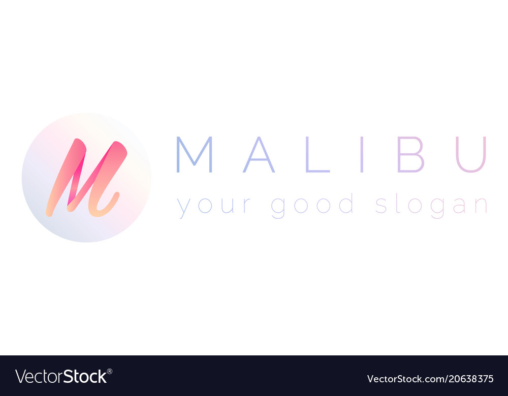 3d logo letter m and word malibu