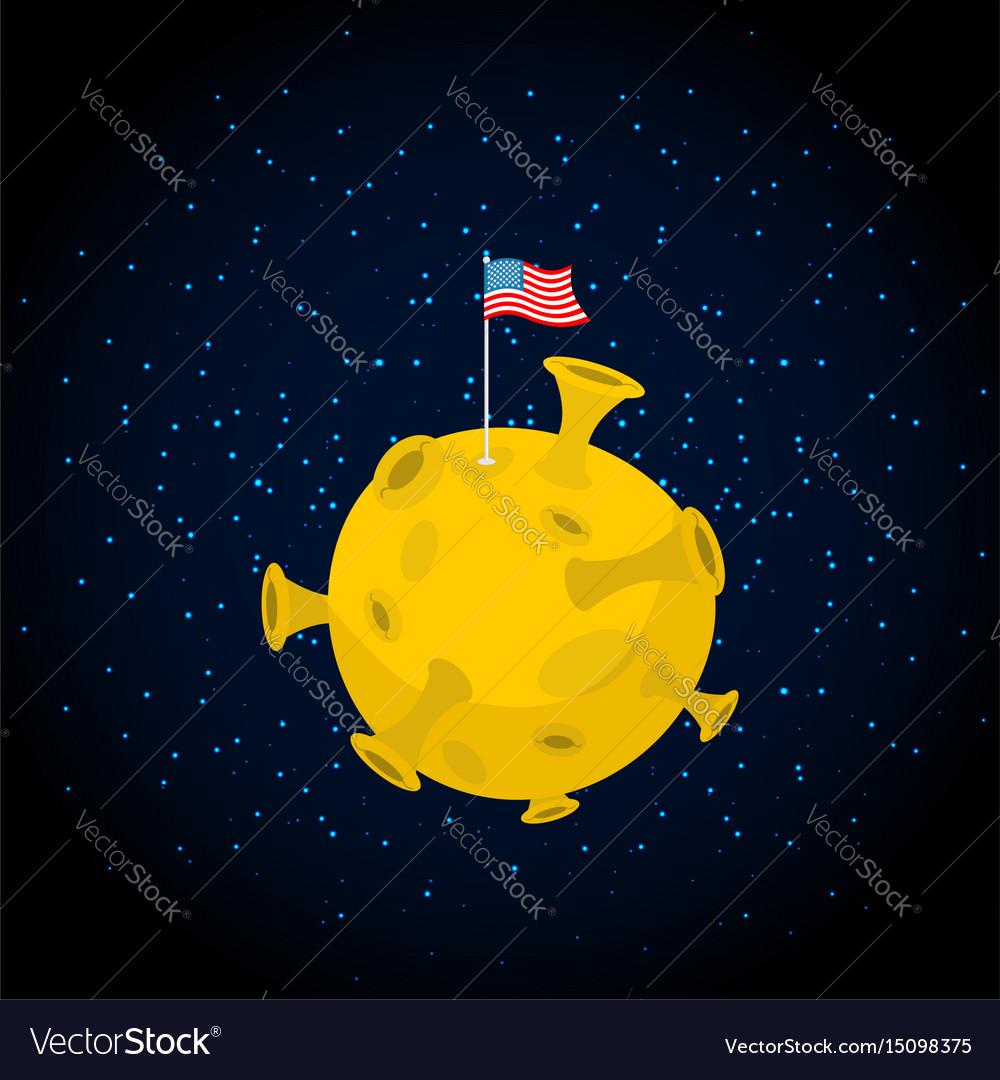 America on moon usa flag on yellow planet dark