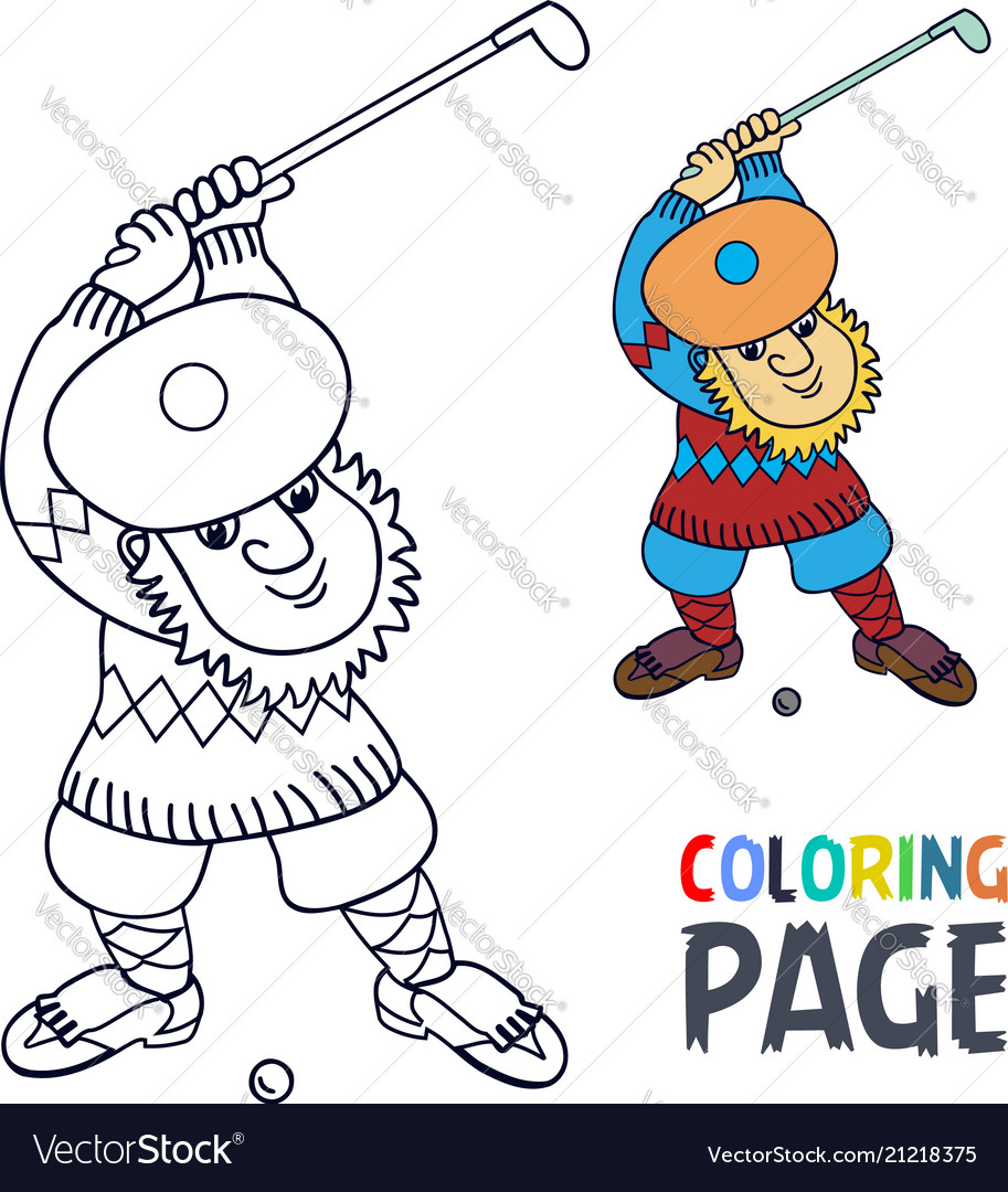 Coloring page with golf player has a stick in the