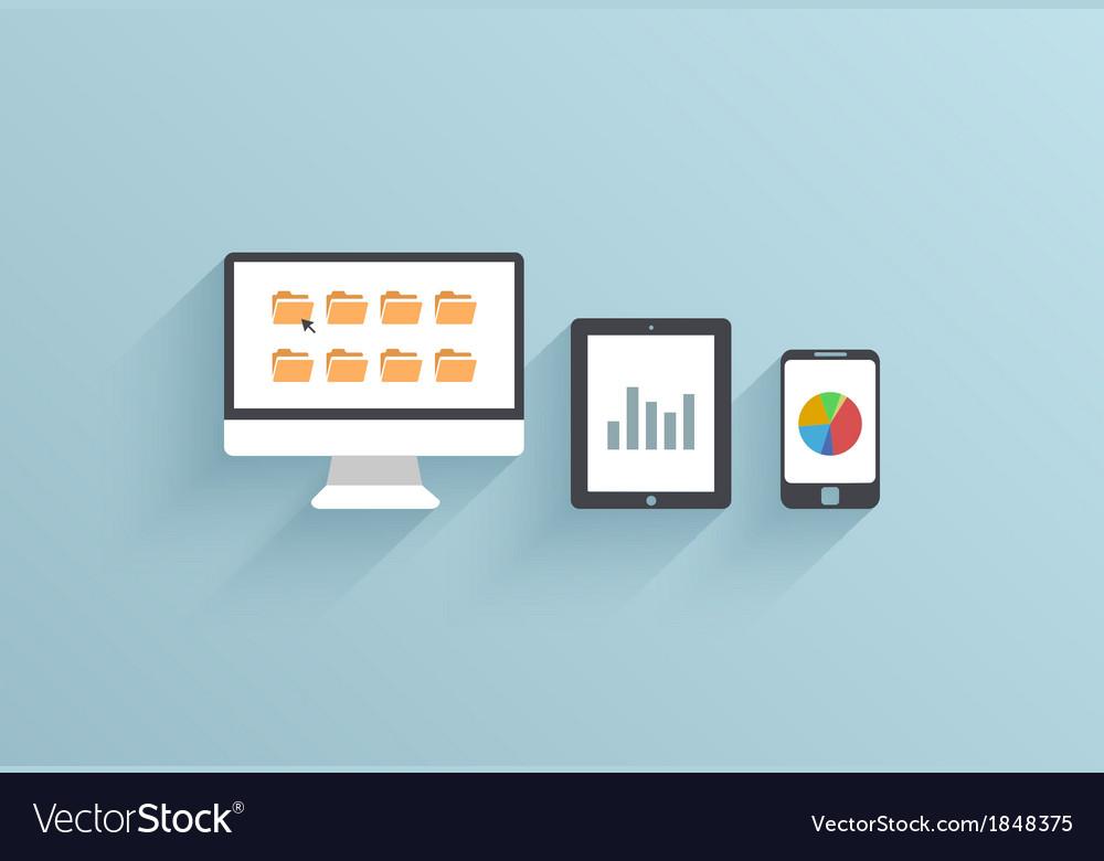 Creative flat ui icon on blue background vector image