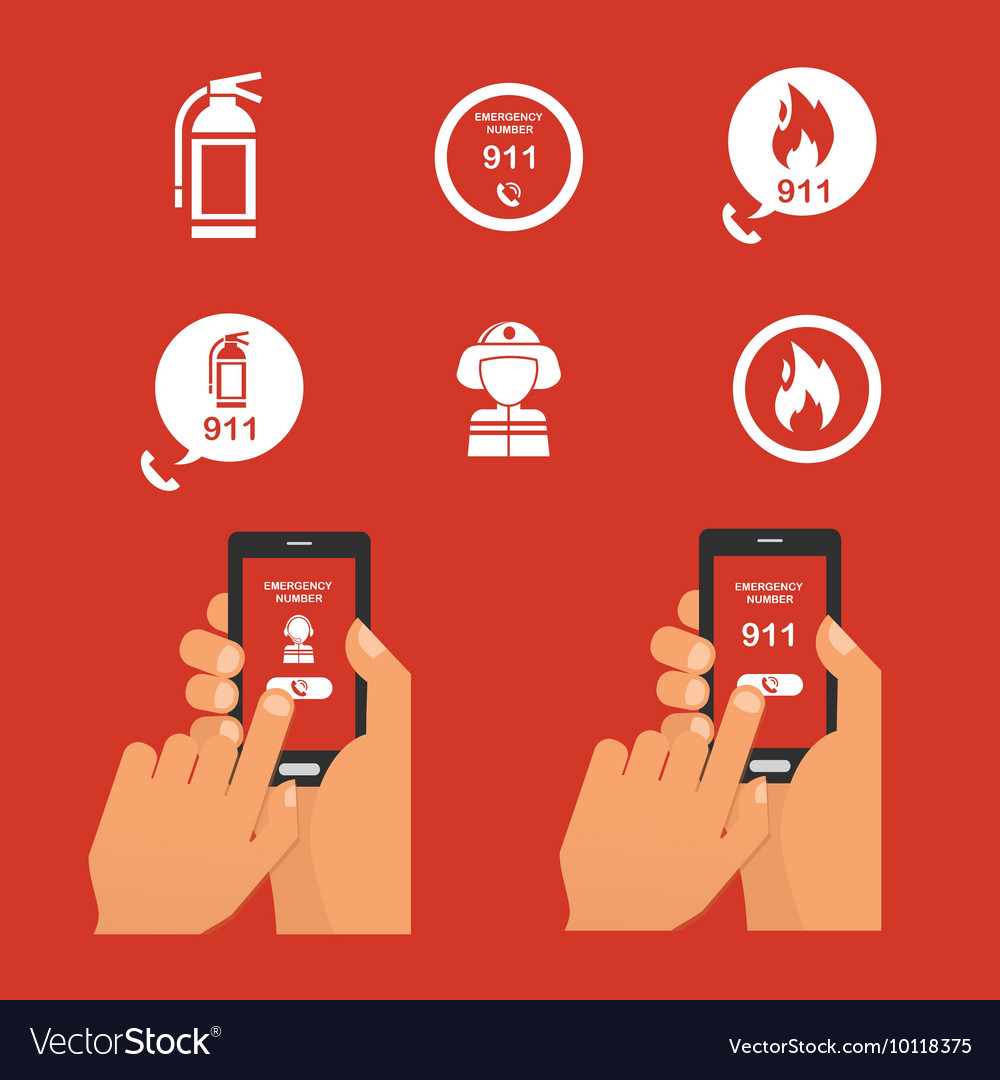 Emergency fire alert via telephone Set of Icon