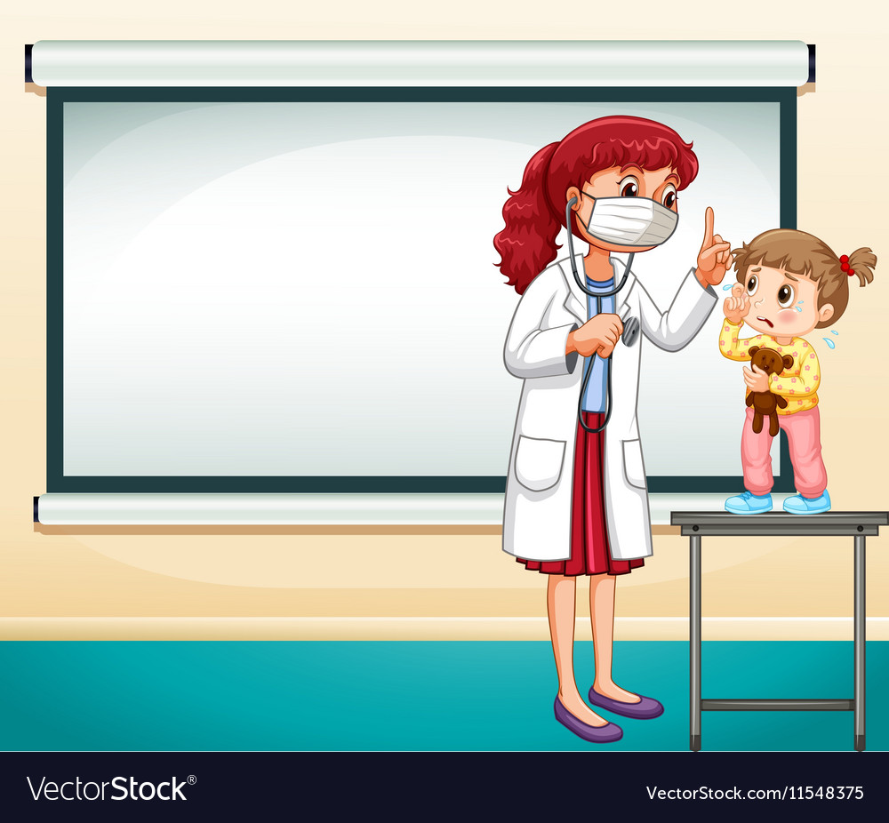 frame template with doctor and little girl vector image