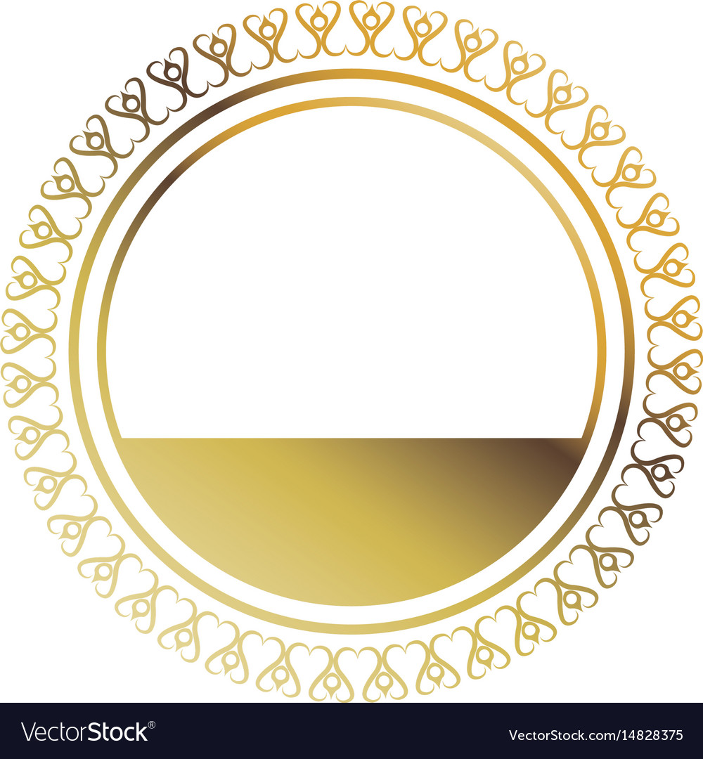 Golden round frame element vintage stamp blank