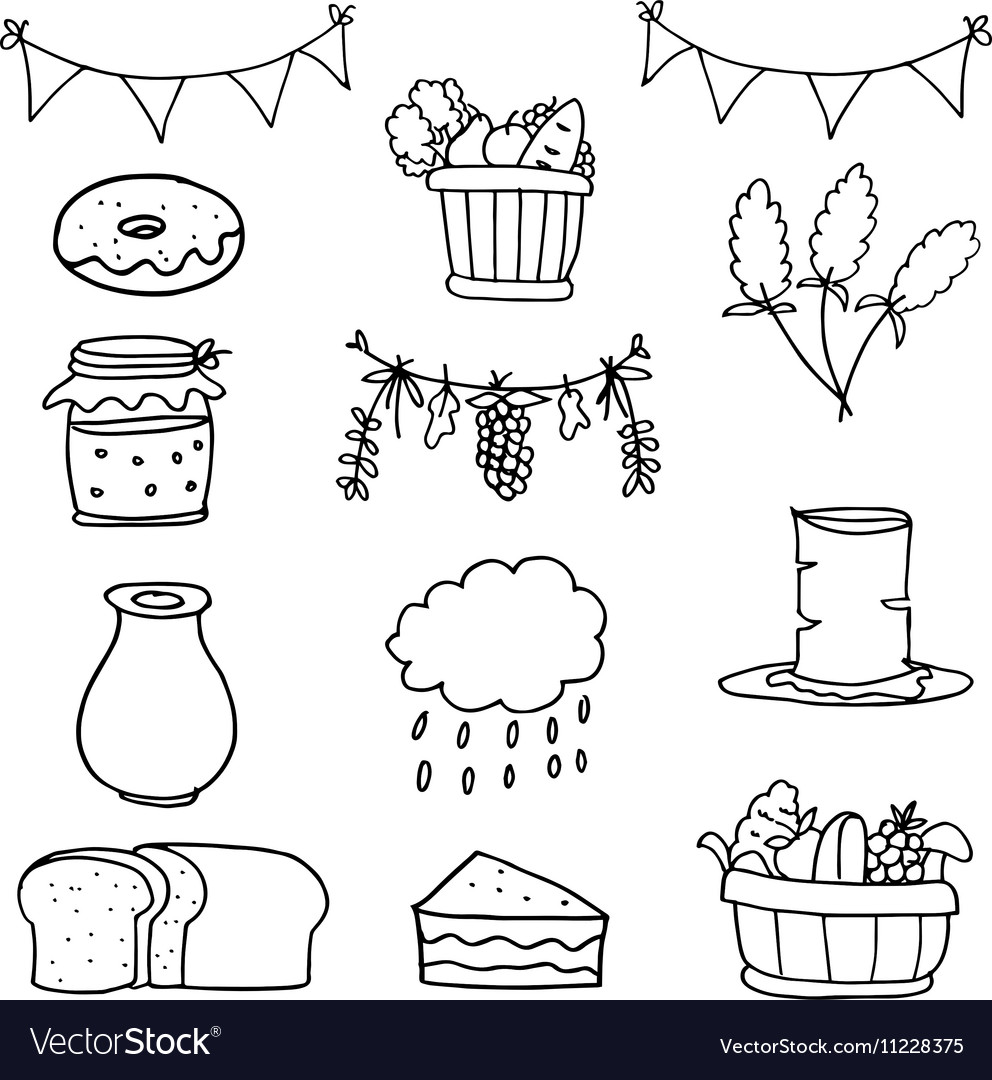 Hand draw object thanksgiving set doodles