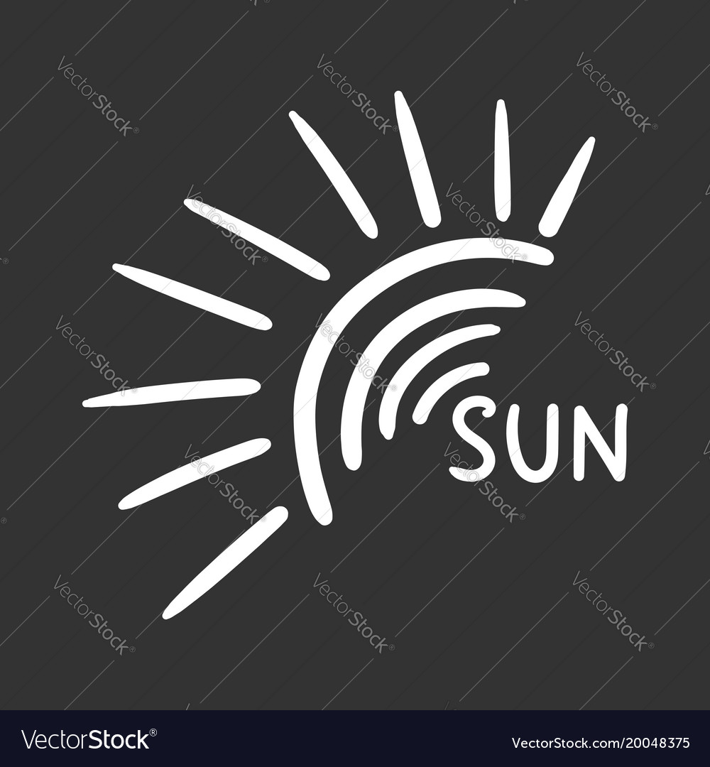 Hand drawn sun icon isolated on black background