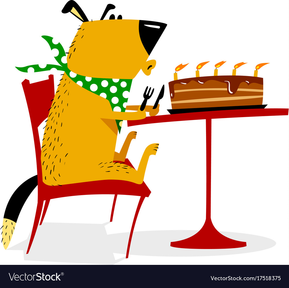 Happy birthday for dog joyful dog sits at a table