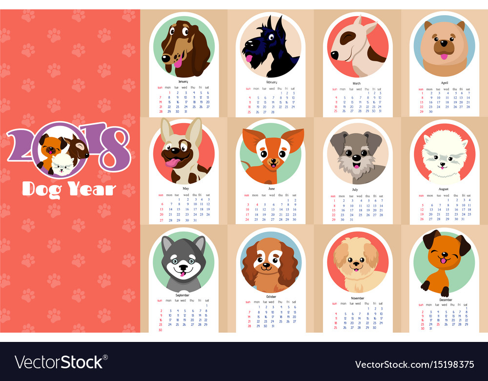Monthly Kids Calendar 2018 With Funny Dogs Vector Image