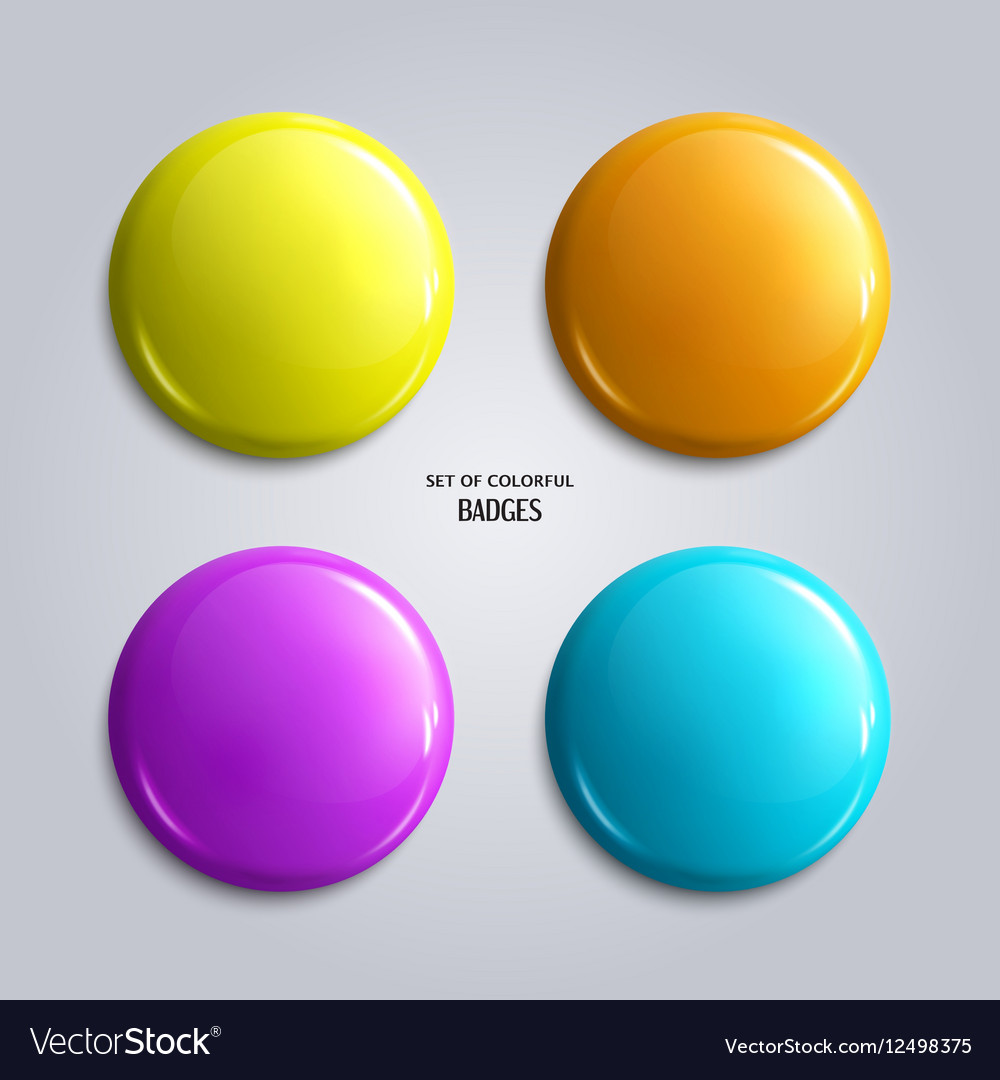 Set blank colorful glossy badges