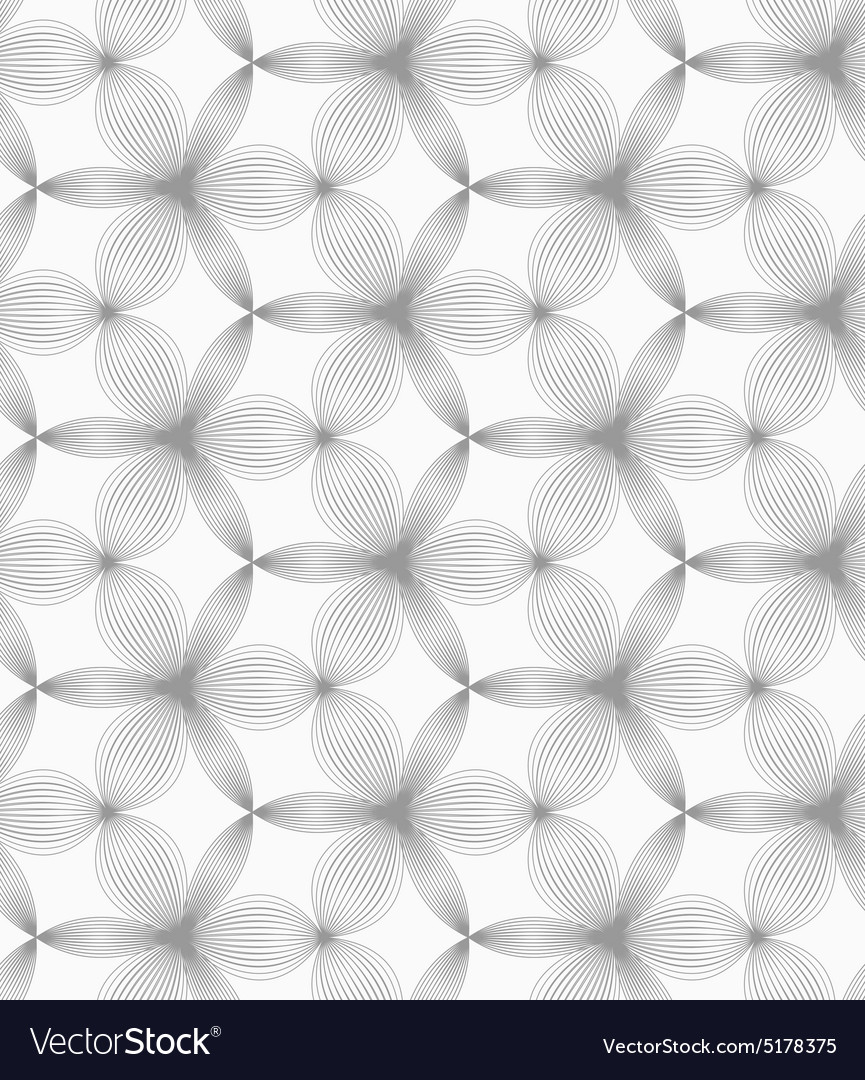 Slim gray small hatched thick and thin trefoils vector image
