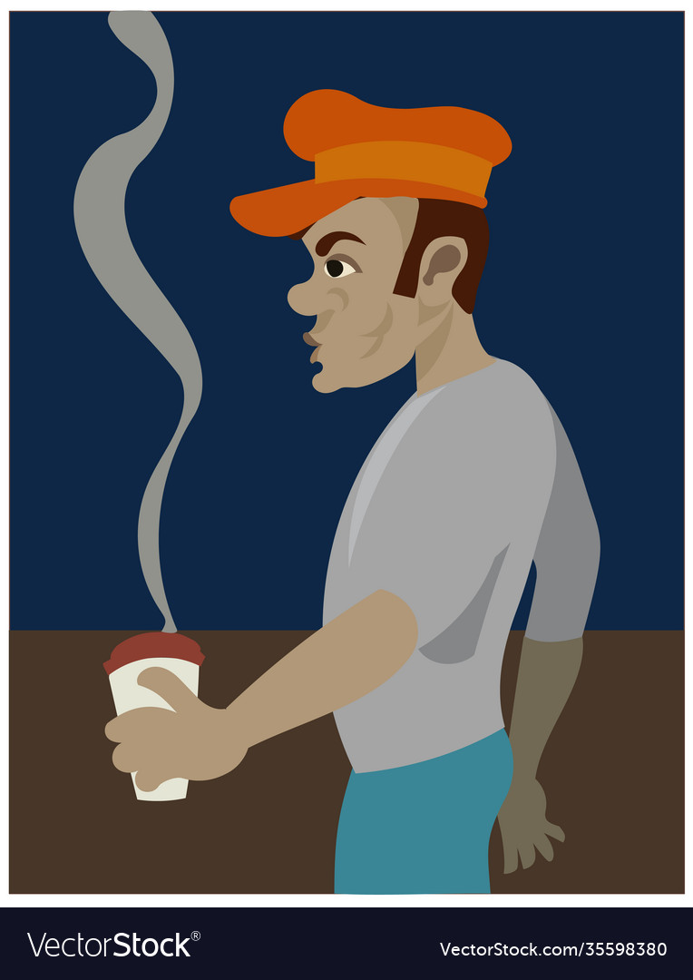 A black guy with vintage cap having coffee