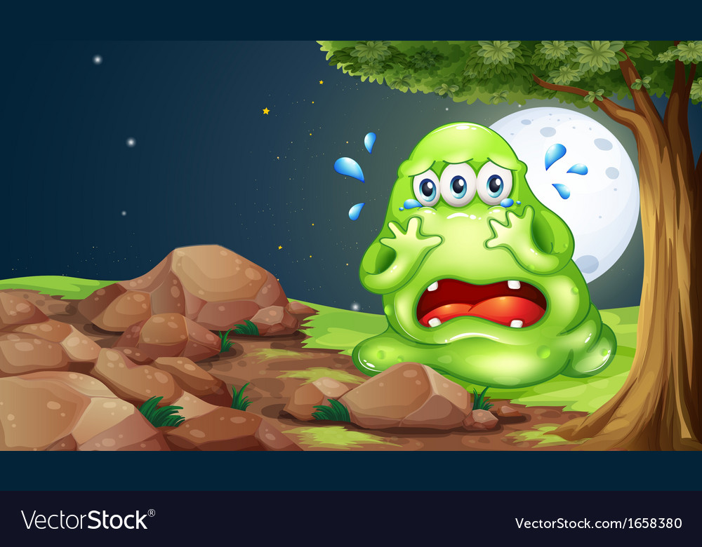 A monster crying near the rocks