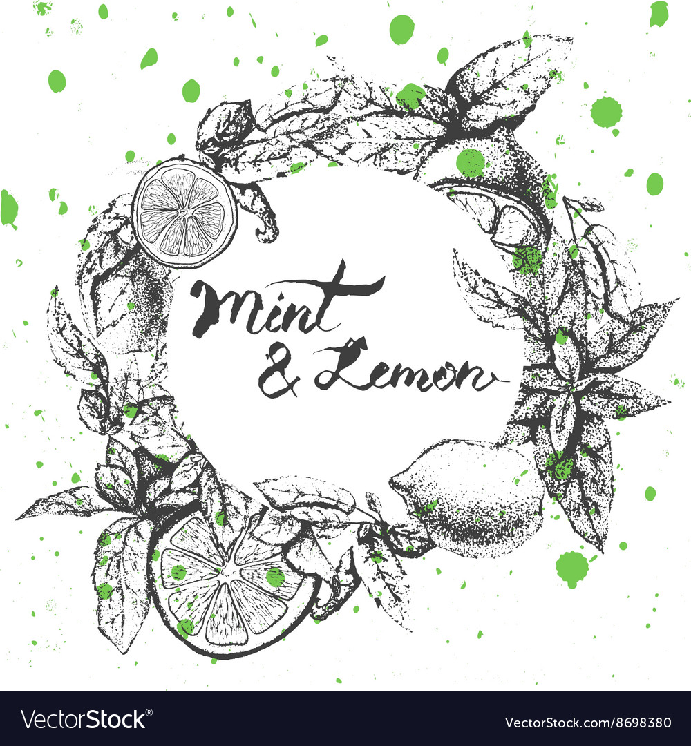 Background design with lemon and mint