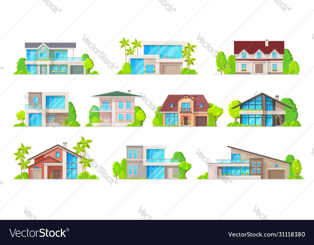 Building icons real estate houses and cottages
