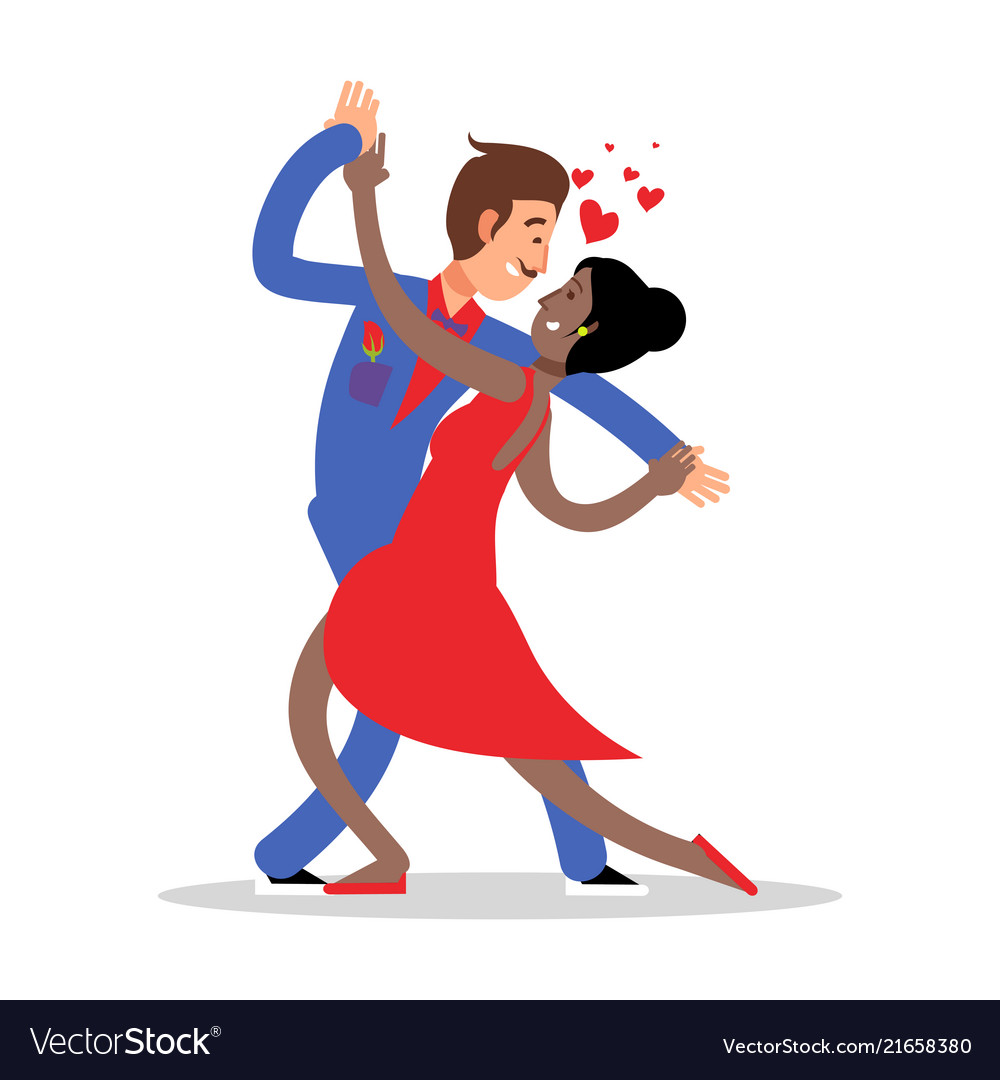 Cartoon character couple dancing