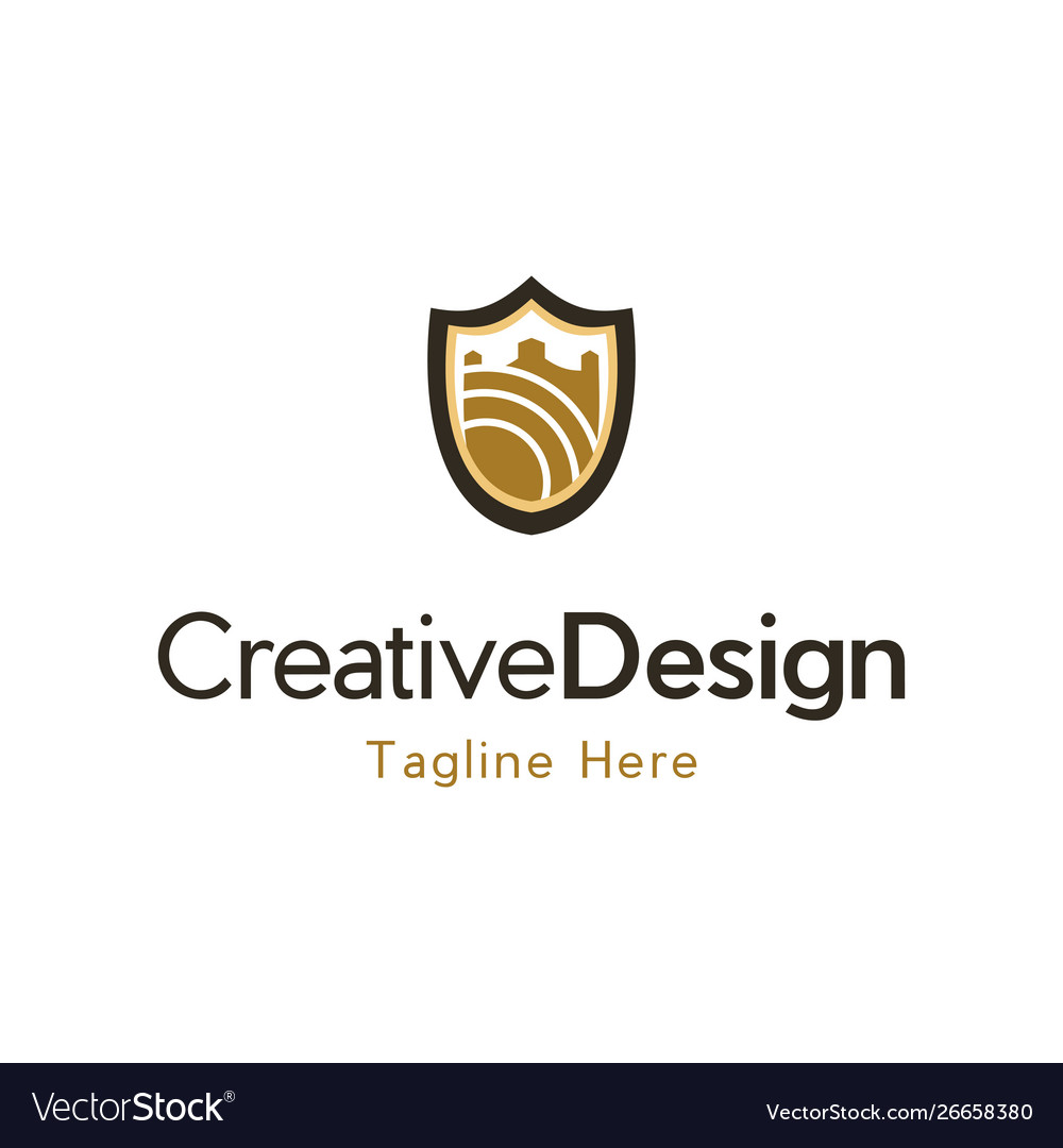 Castle shield building protect creative logo vector image