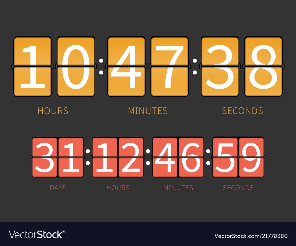 Colorful flip countdown timer hourly schedule
