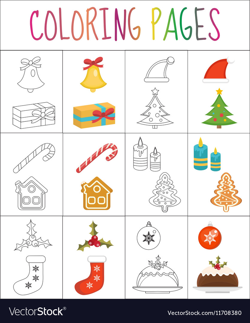 Coloring book page Christmas set Sketch and