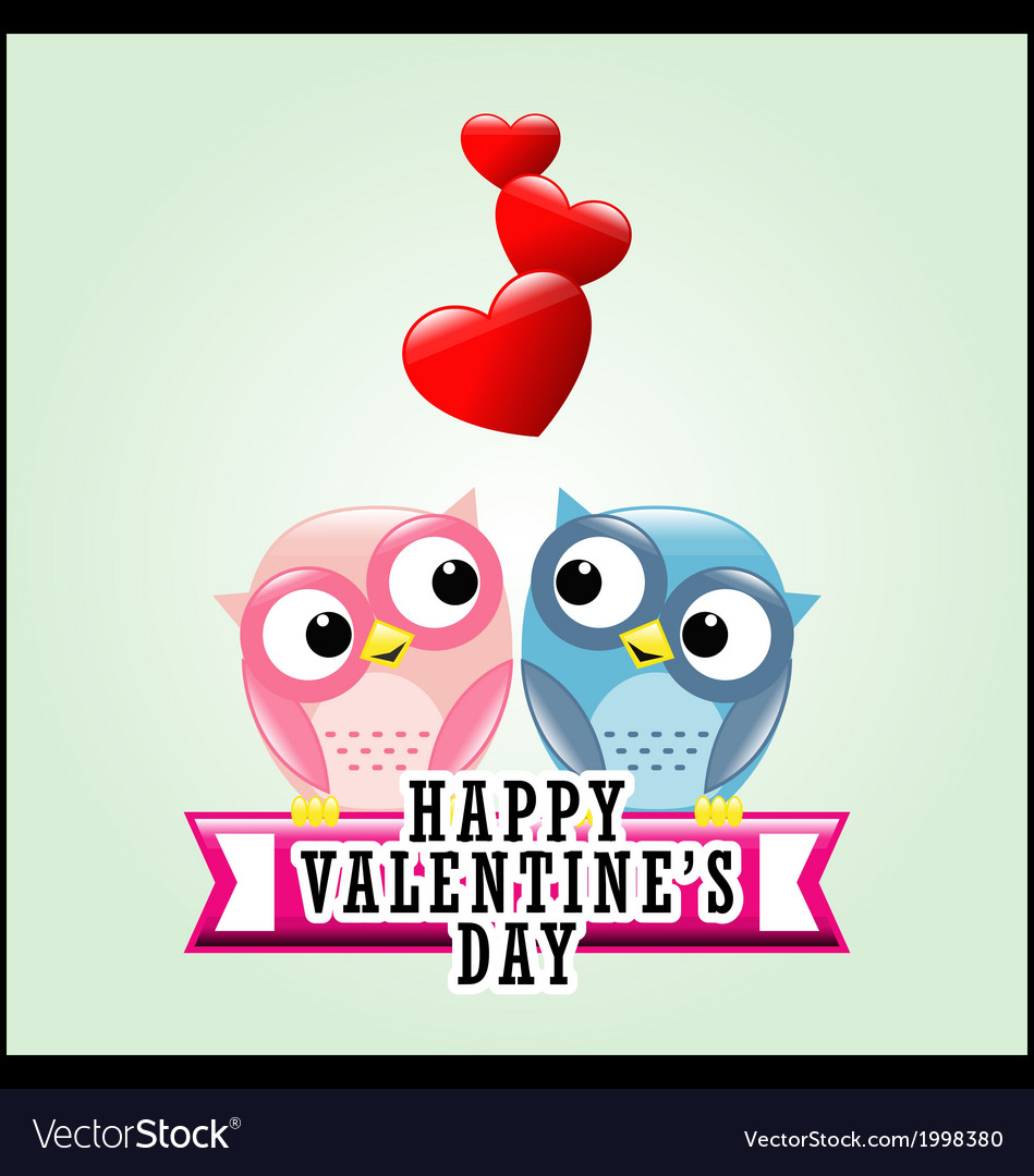 Cute romantic owls and hearts