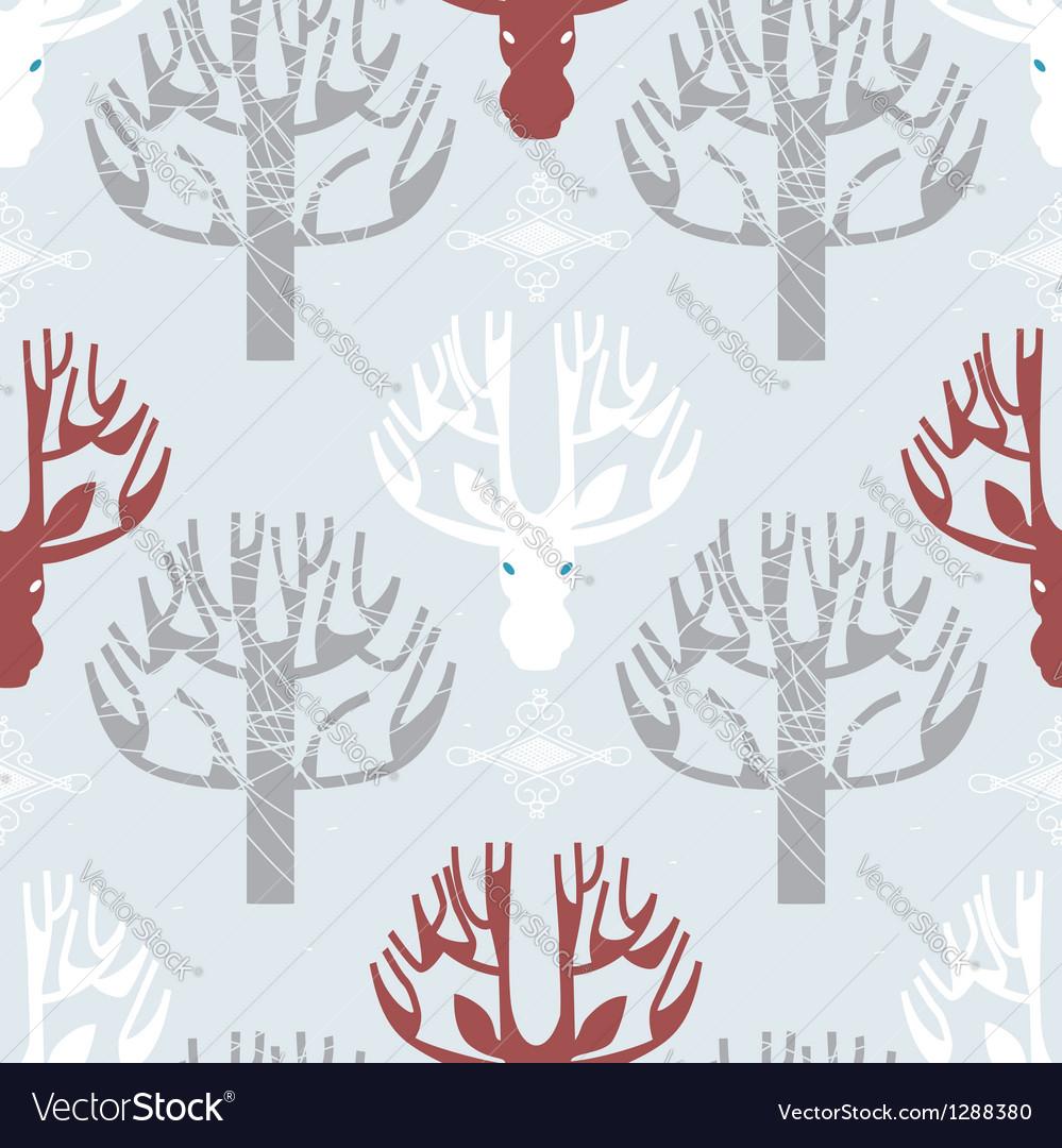 Deer and trees print