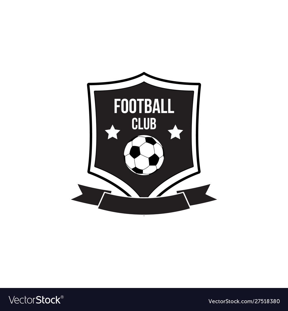 Football club emblem with soccer ball on shield