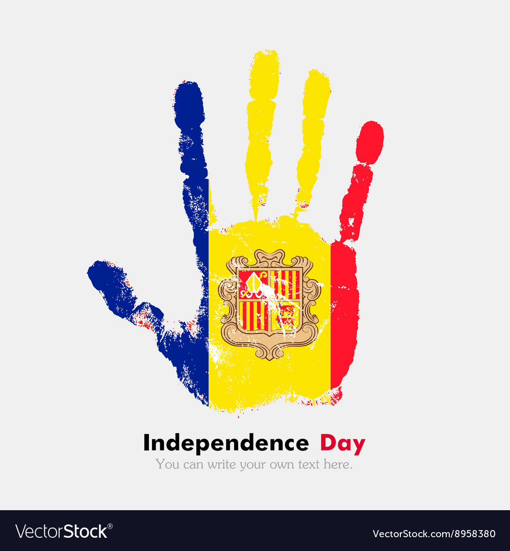 Handprint with the Flag of Andorra in grunge style