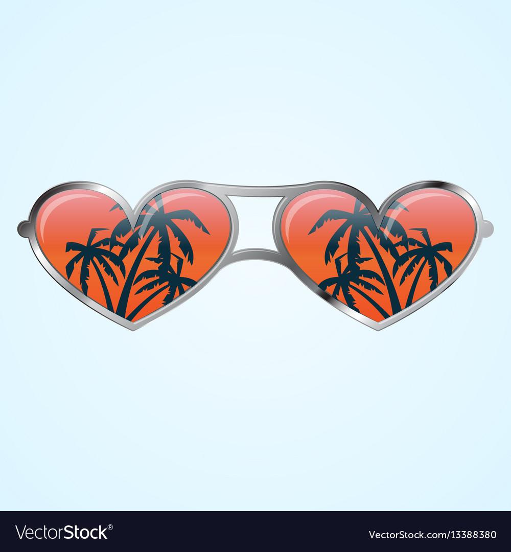 Heart shape glasses vector image