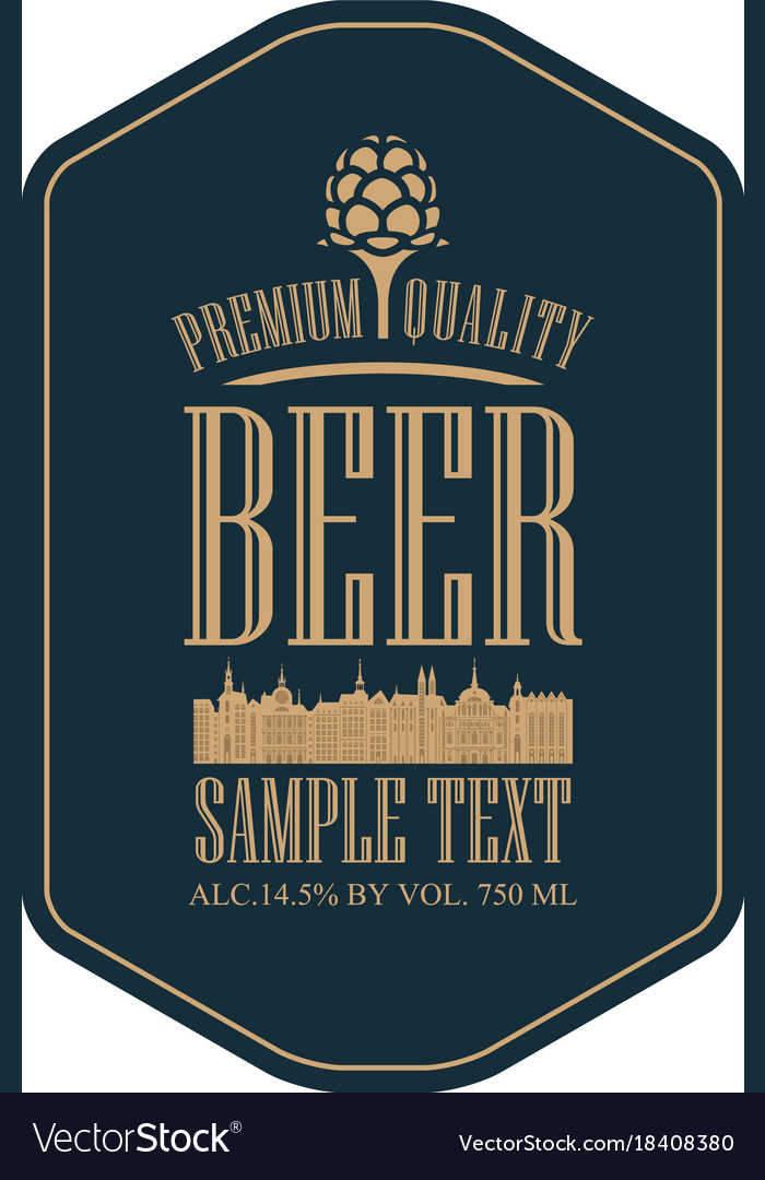 Label for strong beer with old town and lettering