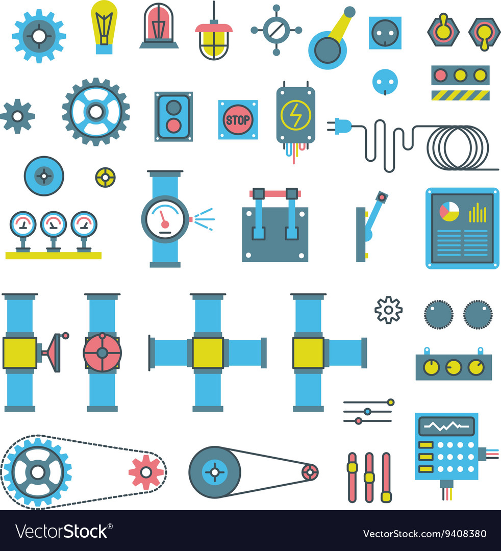 Machinery parts flat icons