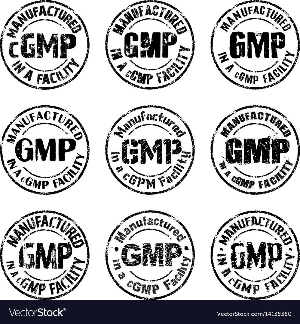 Manufactured in a cgmp facility sign vector image