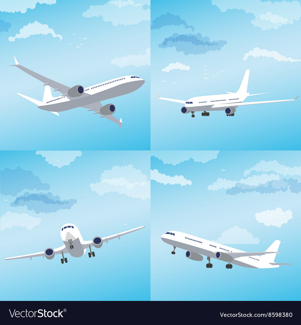 Modern airplane flying through clouds set