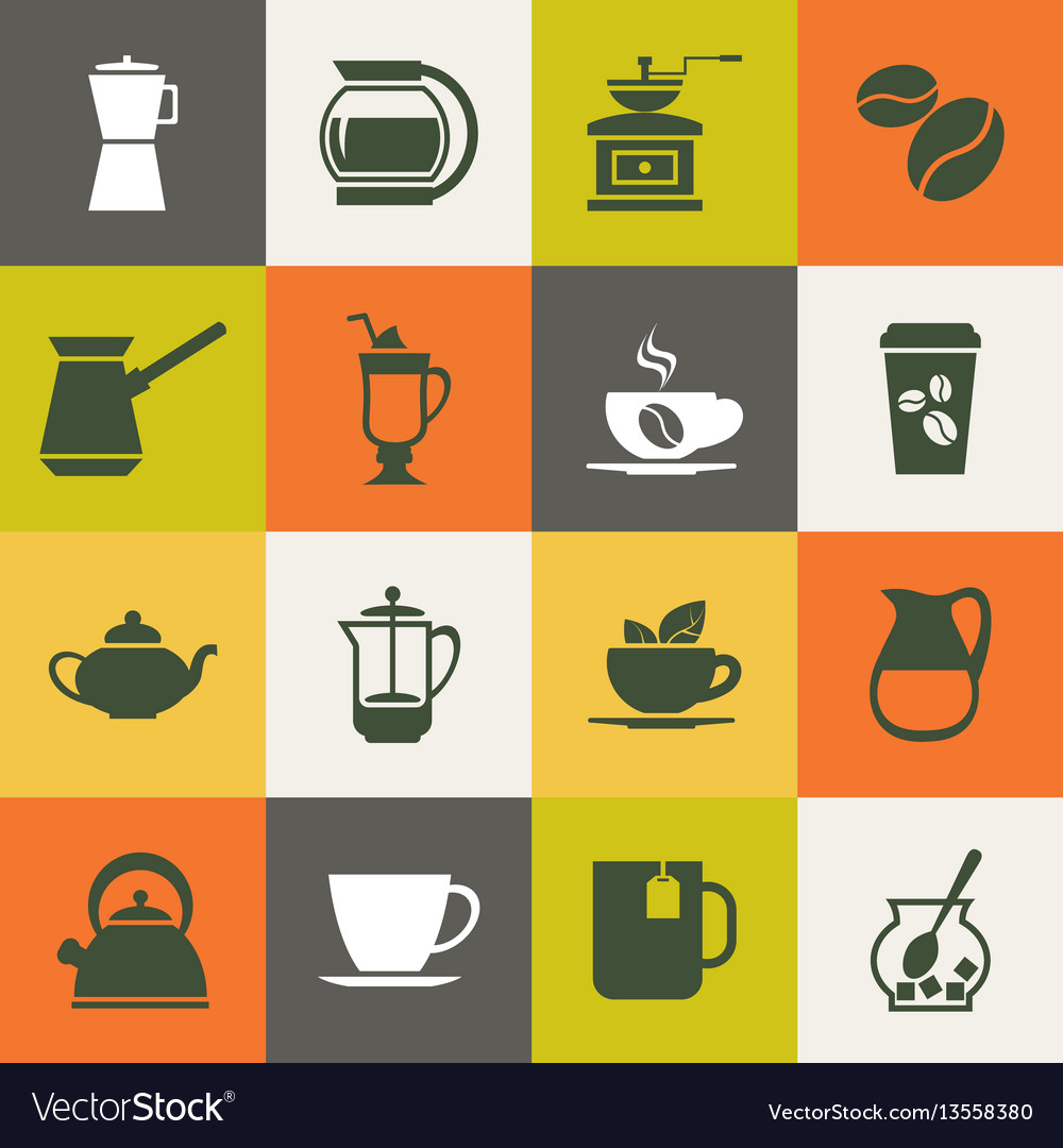 Multicolor coffee icons set